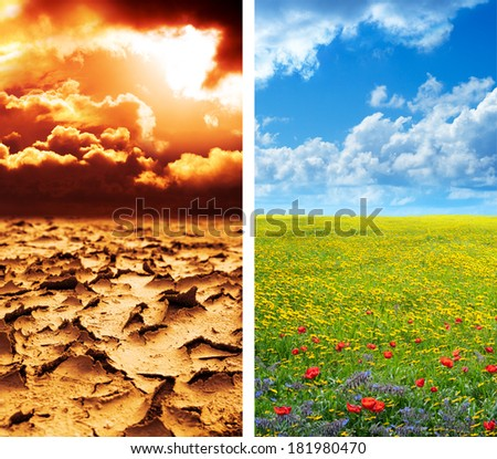 dry soil in arid land and lush green landscape - climate concept - global warming  - stock photo