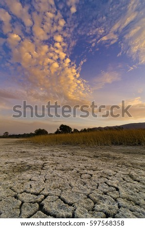 dry soil in summer, kos island Greece