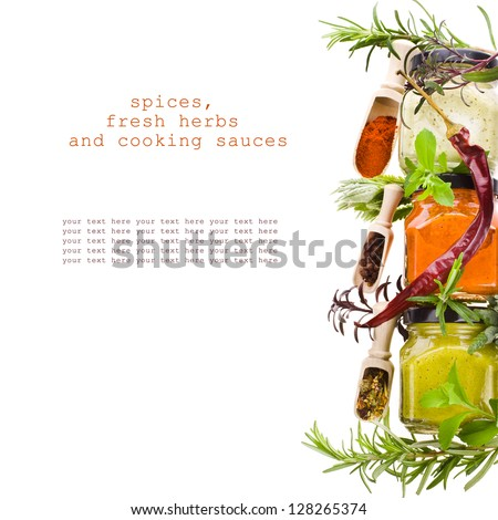 dry spices, fresh herbs and cooking sauces in jars isolated on white background - stock photo