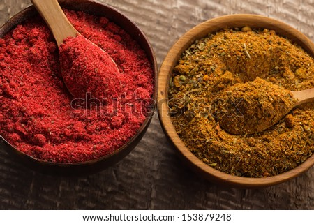 Dry spices  in wooden bowl  on dark table. Selective focus.