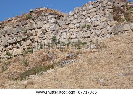 dry stone wall in the wild in Sicily - stock photo