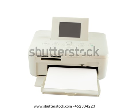Dry sublimation printer and paper isolated on white background, clipping path. front view.