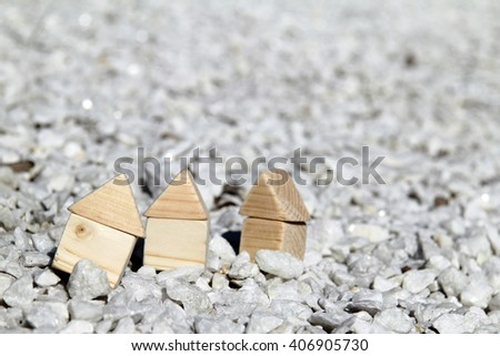 dry, sunny weather in the rocky area with the concepts of wooden houses/residence in drylands - stock photo