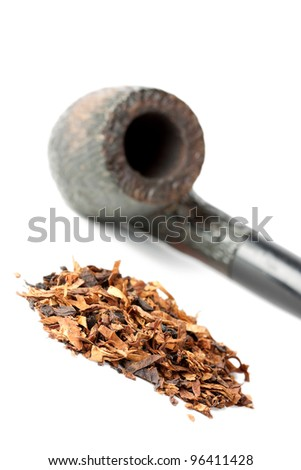 Dry tobacco and pipe isolated on white - stock photo