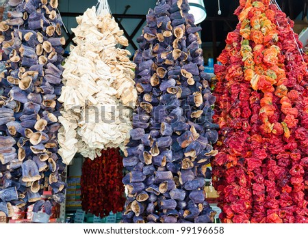 Dry vegetables on the traditional market - stock photo