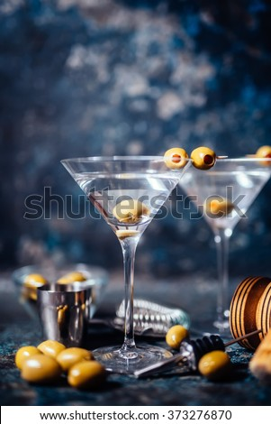 Dry vodka martini, gin tonic cocktail served in restaurant, pub and bar. Long drink cocktail concept - stock photo