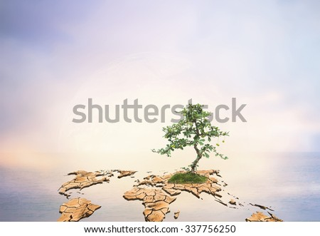 dry world map engender Moisturizing makes the green tree grow over Blurred nature background. Ecology concept. Save the planet and - stock photo