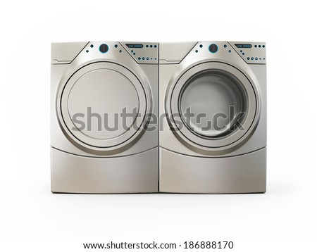 Dryer and Washer Machine Isolated on White Background