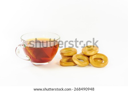 Drying and tea on a white background - stock photo