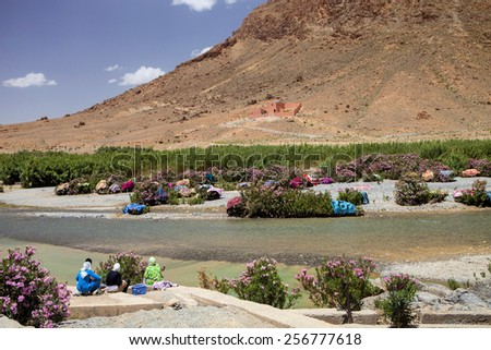 Drying Carpet laundered by the river in Morocco - stock photo
