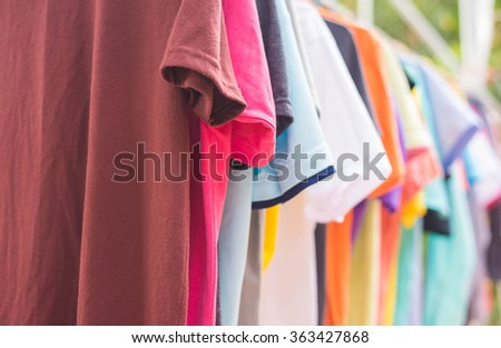 Drying cloth.hanging cloth outdoor.laundry - stock photo