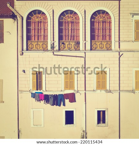 Drying Clothes on the Facade, Instagram Effect  - stock photo
