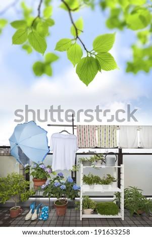 Drying cloths on Japanese style balcony  - stock photo