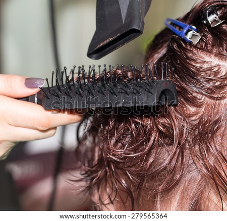 drying hair in a beauty salon