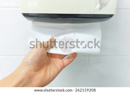 drying hands after cleaning with bubble - stock photo