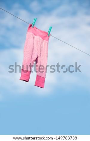 Drying laundry outside - stock photo