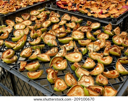 drying of pear and apple slices in home garden - stock photo