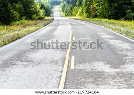Drying pavement along the Highland Scenic Highway, Route 150, National Scenic Byway, Pocahontas County, West Virginia, USA