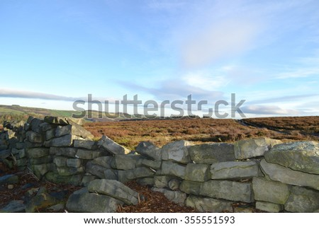 Drystone wall with moor background