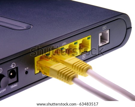 DSL modem network connection isolated on a white background
