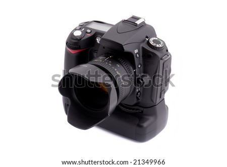 DSLR Camera isolated on white background