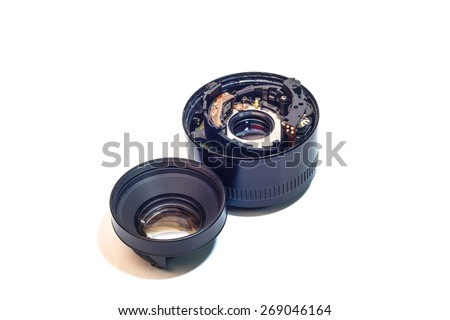DSLR camera lenses that are worn on a white background. - stock photo