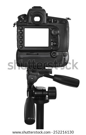 DSLR camera with blank screen on tripod isolated on a white background - In this photo the logos, brand, or anything that can bring to a particular object has been deleted to be 100% commercial. - stock photo