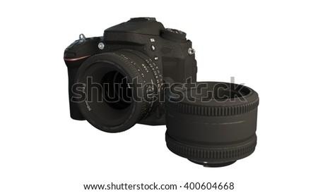 DSLR camera with lens 3d illustration - stock photo