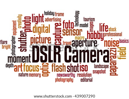 DSLR Camera, word cloud concept on white background. - stock photo
