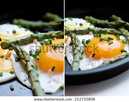 Dual image of poached ducks eggs and asparagus tips with Himalayan pink rock salt and fresh chives. Perfect images for a restaurant or bistro menu. - stock photo