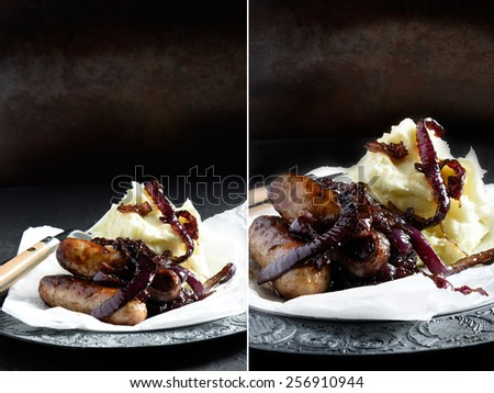 Dual image of sausages with caramelised onions against a rustic background. Perfect for a restaurant or bistro menu cover image. Copy space. - stock photo