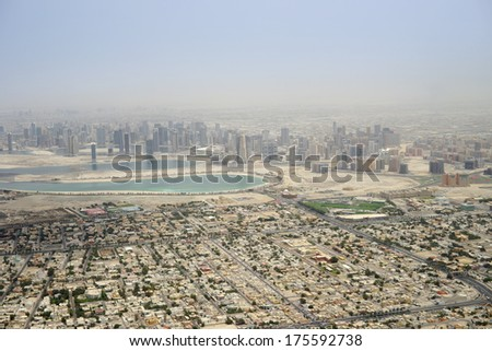 Dubai aerial view from the airplane window