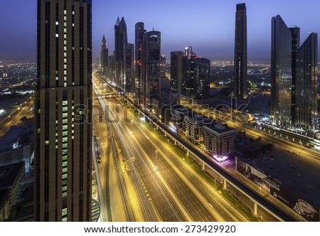 Dubai-April 14: Sheikh Zayed road is one of the busiest road in Dubai city on April 14,2015 in Dubai,UAE. - stock photo