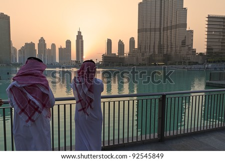 Dubai arabs - stock photo
