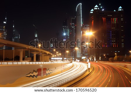 Dubai at night , night road, united Arab Emirates
