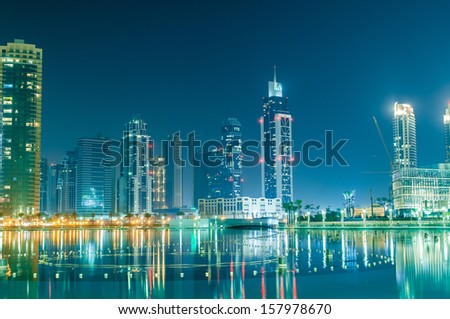 Dubai building at night illumination - stock photo