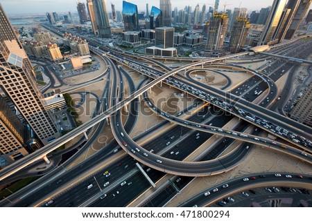 Dubai Roads Junction Intersection Dubai Car Stock Photo