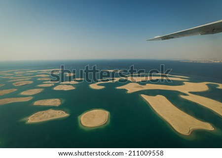 DUBAI - CIRCA MAY 2014: Top view on new island project The World in Dubai, UAE in CIRCA MAY 2014. - stock photo