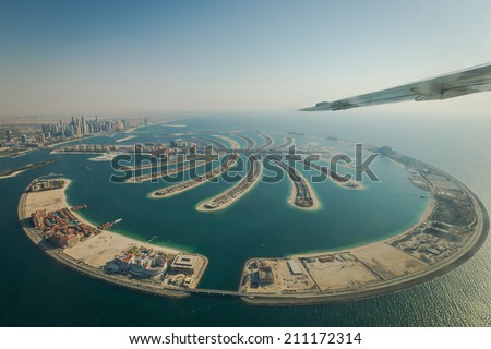DUBAI - CIRCA MAY 2014: Top view on the most expensive island Palm Jumeirah in Dubai, UAE in CIRCA MAY 2014. - stock photo