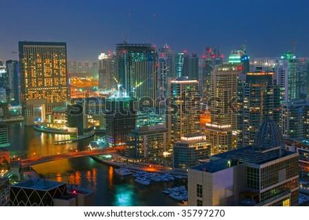 Dubai City Scape Night Scene - stock photo