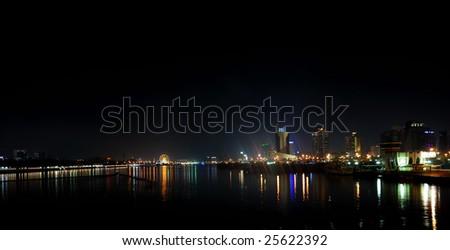 Dubai Creek at night, United Arab Emirates - stock photo