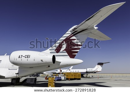DUBAI - DECEMBER 8: A luxury and VIP aircraft is sun bathing at the DWC airport as seen on December 8, 2014. DWC is Dubai's newest airport. - stock photo