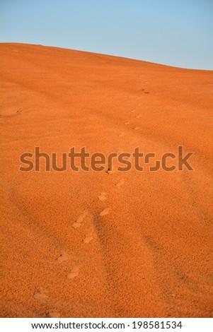 Dubai Desert and Sand Dunes in Twilight - stock photo
