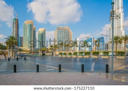 Dubai downtown at the day - stock photo