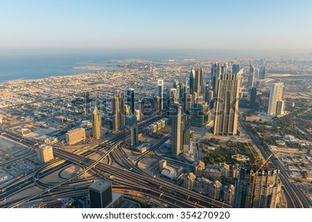 Dubai downtown morning scene. Top view from above - stock photo