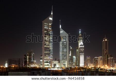 Dubai Dowtown at ngiht, United Arab Emirates - stock photo