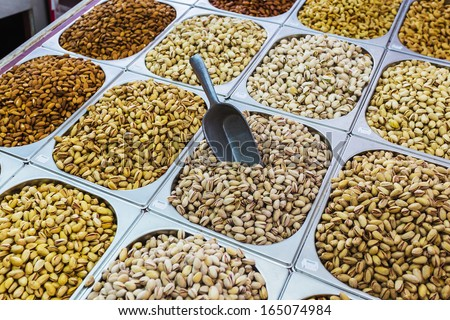 Dubai - dried nuts in the street shop - stock photo