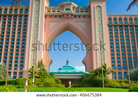 Dubai - February 3,2012: Atlantis, the Palm luxury hotel resort is located on island in the United Arab Emirates.The resort consists of two towers linked by a bridge, with a total of 1539 rooms. - stock photo