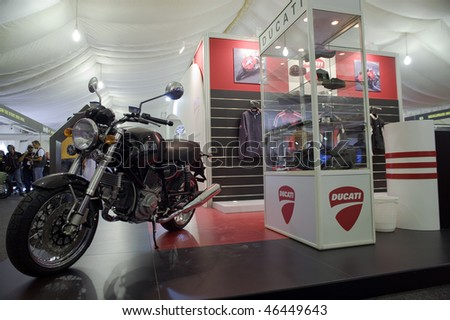 DUBAI - FEBRUARY 5: Latest Bikes at Ducati stand, at the Gulf Bike Festival on February 5, 2010 in Dubai Festival City, United Arab Emirates