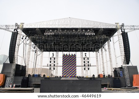DUBAI - FEBRUARY 5: The stage, two hours before the Nickelback concert, on February 5, 2010 in Dubai, United Arab Emirates - stock photo